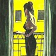 Woman In Black Dress On Balcony Art Print