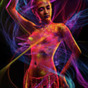 Woman In Colorful Body Paint With Light Streaks Art Print