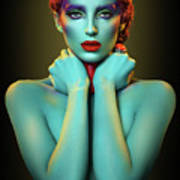Woman In Cyan Body Paint With Curly Hairstyle Art Print
