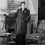 Woman In Fur Coat, C.1940s Art Print