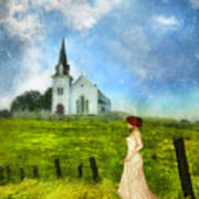 Woman In Lace By A Country Church Art Print