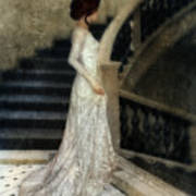 Woman In Lace Gown On Staircase Art Print
