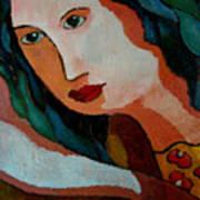 Woman In Orange And Blue Art Print