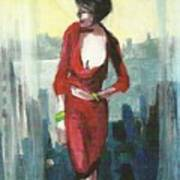 Woman In Red Dress By Condo Window Art Print