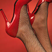 Woman In Red High Heel Shoes Art Print