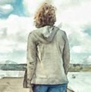 Woman In Rustico Harbor Prince Edward Island Art Print