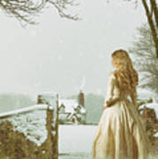 Woman In Snow Scene Art Print