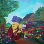 Woman In The Garden Art Print