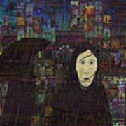 Woman In The Rain Art Print