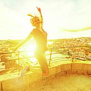 Woman Jumping At Oporto Art Print