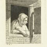 Woman Leaning On Arms In Window Opening Art Print