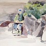 Woman Of The Rocks Art Print