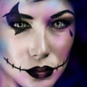 Woman On Halloween Party Art Print