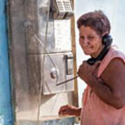 Woman On The Phone Art Print