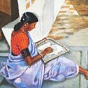 Woman Picking Rice Art Print
