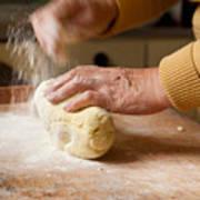 Woman Preparing Dough For Kopytka Art Print