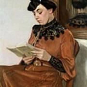 Woman Reading Art Print by Felix Edouard Vallotton