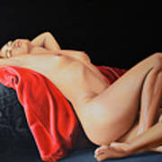 Woman Resting on a Red Cloth Art Print