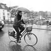 Woman Riding In The Raing Art Print