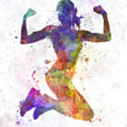 Woman Runner Jogger Jumping Powerful Art Print