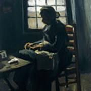 Woman Sewing Art Print