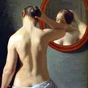 Woman Standing In Front Of A Mirror 1841 Art Print