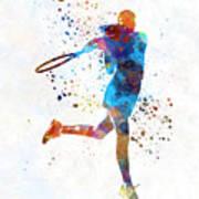Woman Tennis Player 03 In Watercolor Art Print