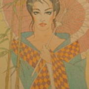 Woman Under The Bamboo Umbrella Art Print