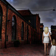 Woman Walking Away With A Child Art Print