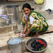 Woman Washing Clothes In Khajuraho Village Art Print