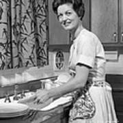 Woman Washing Dishes, C.1960s Art Print
