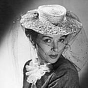 Woman Wearing A Hat & Veil Art Print