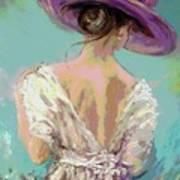 Woman Wearing A Purple Hat Art Print