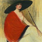 Woman Wearing Hat Art Print