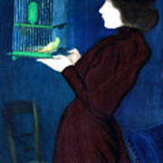 Woman With A Bird Cage  Detail Art Print