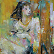 Woman With A Cup Of Coffee Art Print
