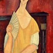 Woman With A Fan Art Print by Amedeo Modigliani