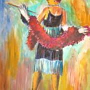 Woman With Boa Art Print