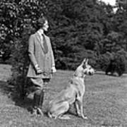 Woman With Great Dane, C.1920-30s Art Print
