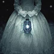 Woman With Lantern Art Print