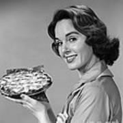 Woman With Pie, C.1950-60s Art Print