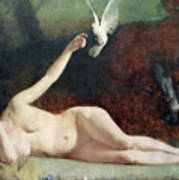 Woman With Pigeons Print by Ernst Philippe Zacharie