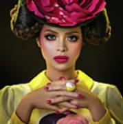 Woman With Red Flower Headdress Art Print