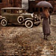 Woman With Umbrella By Vintage Car Art Print