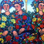 Women And Parrott Art Print