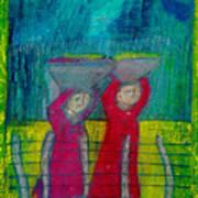Women Carrying Wash Art Print