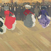 Women Dancing The Can Can Print by Abel Truchet
