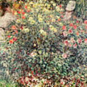 Women In The Flowers Art Print by Claude Monet