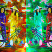 Women With Bike Art Print