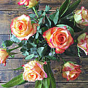 Wood And Roses Art Print